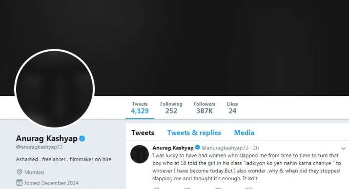 MeToo: Anurag Kashyap's Twitter profile picture goes all