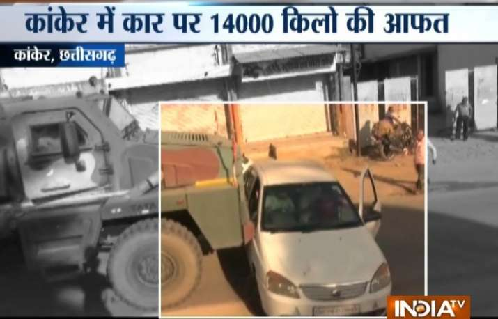 Watch Video | Chhattisgarh: Army truck drags car for several metres leaving family of 3 petrified