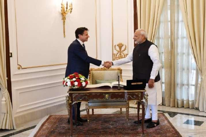 PM Narendra Modi with Italian counterpart Giuseppe Conte