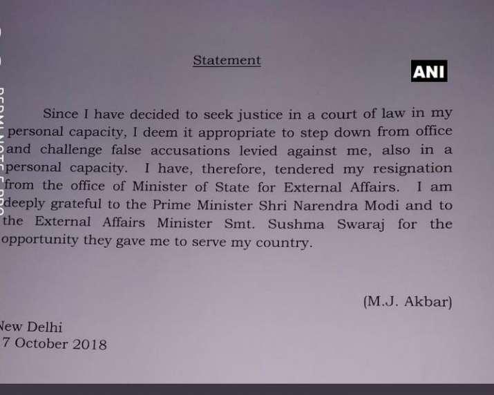 India Tv - MJ Akbar resigns