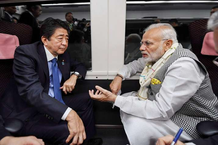 India Tv - PM Modi takes express train to travel to Tokyo with Shinzo Abe