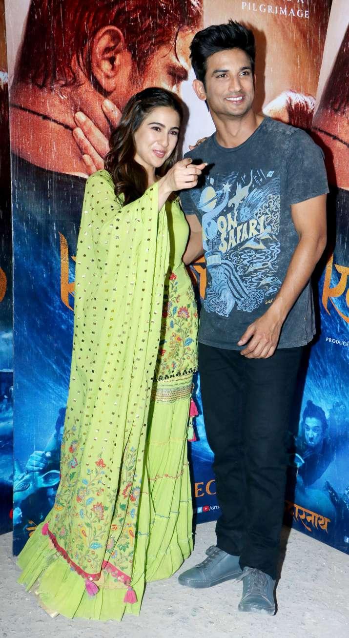 India Tv - Sara Ali Khan and Sushant Singh Rajput for Kedarnath promotions