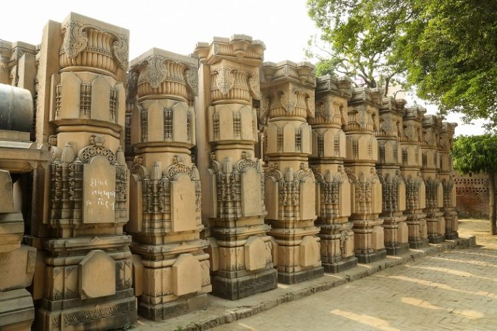 India Tv - Carved stones are seen at the Ram Janmabhomi Nyas-run workshop at Karsevakpuram in Ayodhya. (Photo/PTI)