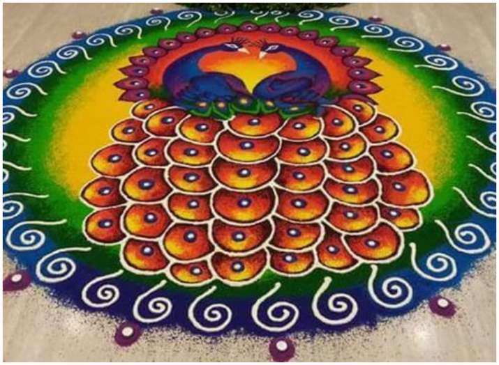 peacock rangoli for diwali