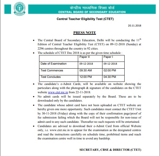 India Tv - CTET 2018 Admit Card to be out soon at ctet.nic.in , stay tuned for more details