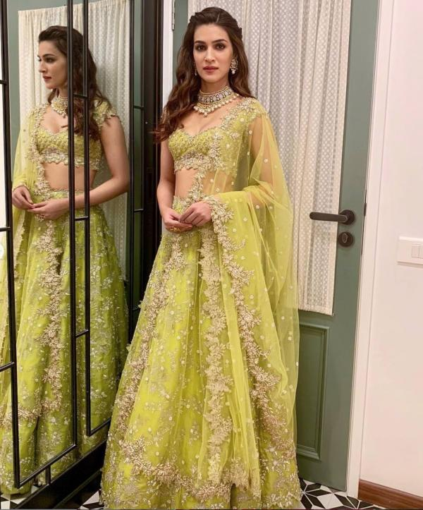 India Tv - Kriti Sanon opts for a fresh green gown by designer Anushree Reddy