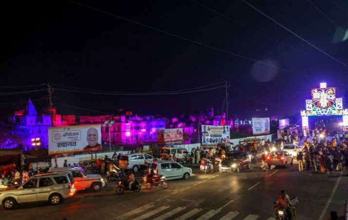 India Tv - An areal view of city of Ayodhya decked up like a bride ahead of South Korean First Lady Kim Jung-sook visit for Deepotsav