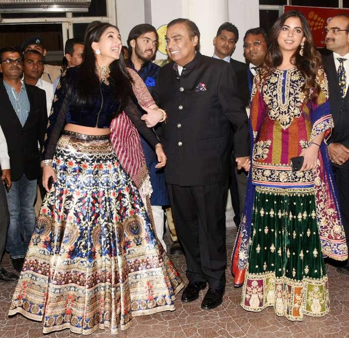 India Tv - Mukesh Ambani with family for Priyanka's wedding.