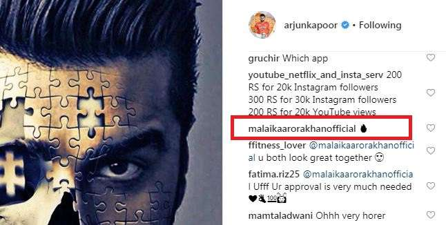 India Tv - Malaika Arora's comment on Arjun Kapoor's Instagram