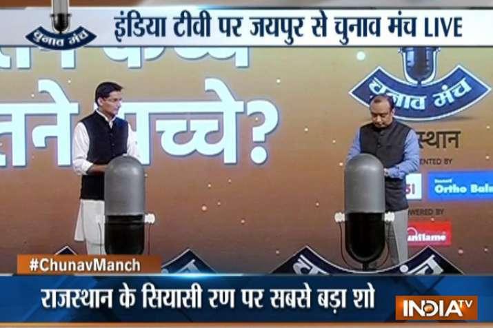 India Tv - BJP's Sudhanshu Trivedi and Congress' Deepender Hooda in Chunav Manch