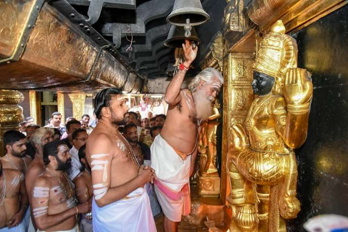 India Tv - Temple priests offer prayers at Sabarimala Temple, Monday, Nov 05, 2018. This is the second time the hill temple opened for 'darshan' after the Supreme Court allowed entry of women of all age groups into it.