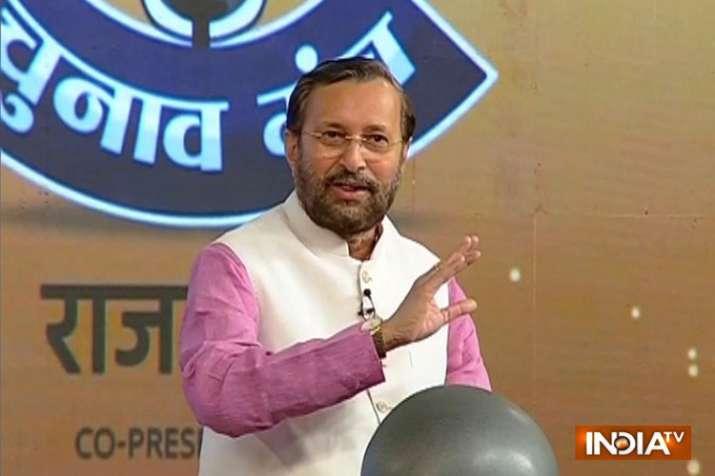 India Tv - Union minister Prakash Javadekar in Chunav Manch