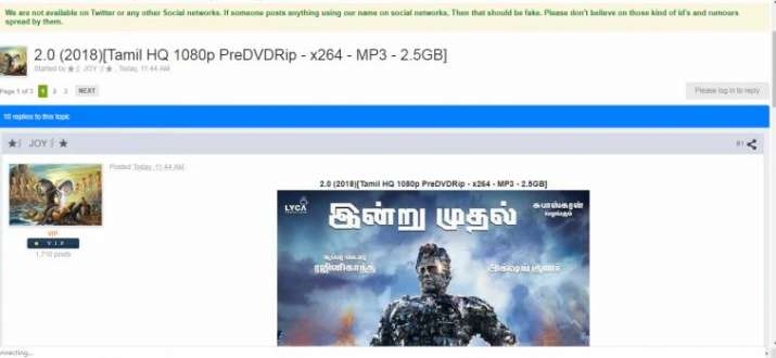 India Tv - Tamilrockers leaked 2.0 hours after its release