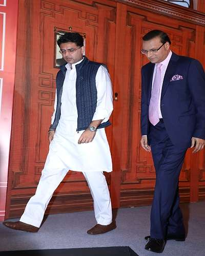 India Tv - India TV Editor-In-Chief and Chairman Rajat Sharma with Rajasthan Congress chief Sachin Pilot