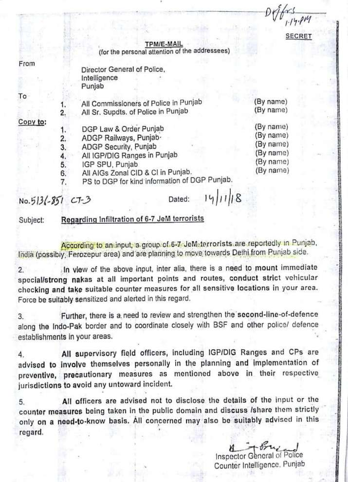 India Tv - Intelligence note issued by Punjab Police