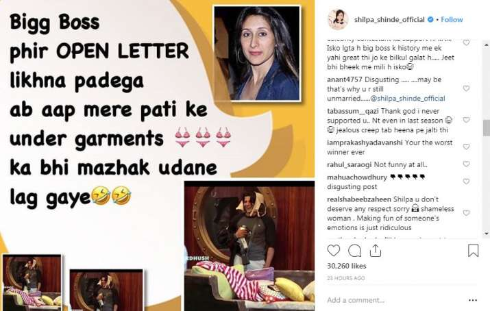 India Tv - Comments on Shilpa Shinde's Instagram post