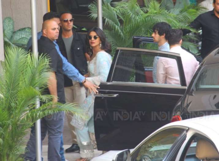 India Tv - Priyanka Chopra arrives at her old house for puja with beau Nick Jonas, Joe Jonas and Sophie Turner