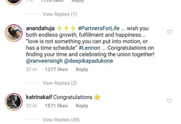 India Tv - Bollywood celebrities react on Deepika Padukone, Ranveer Singh's wedding pictures