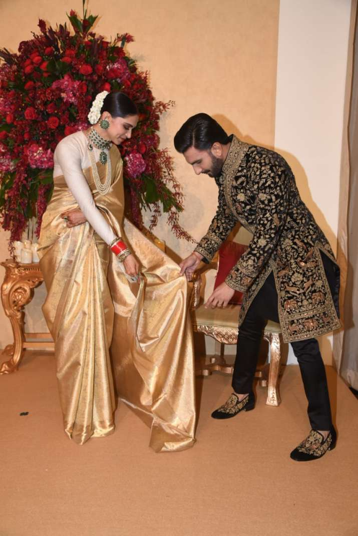 India Tv - Deepika Padukone and Ranveer Singh at their Bengaluru wedding reception