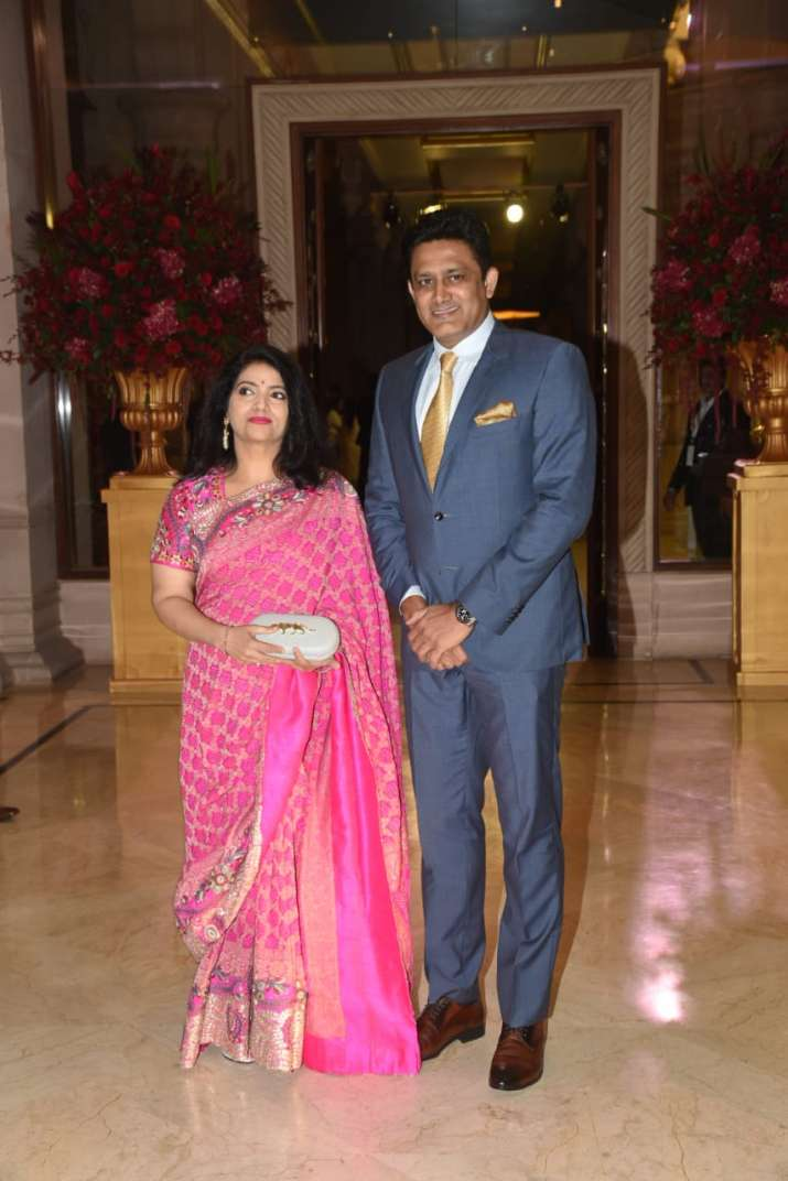India Tv - Anil Kumble with his wife at Deepika-Ranveer's wedding reception