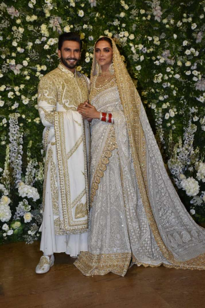 India Tv - Deepika Padukone and Ranveer Singh at their Mumbai wedding reception