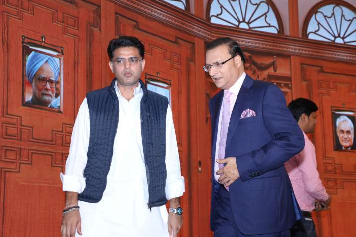 India Tv - Rajasthan Congress chief Sachin Pilot with India TV Editor-in-Chief Rajat Sharma at Chunav Manch in Jaipur