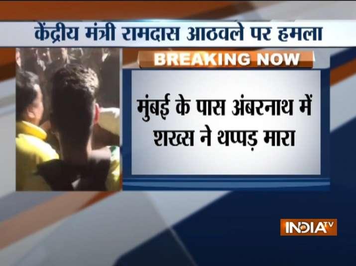Ramdas Athawale slapped in Pune