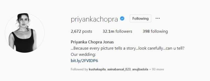 India Tv - After marriage to Nick Jonas, Priyanka Chopra changes her name on Instagram