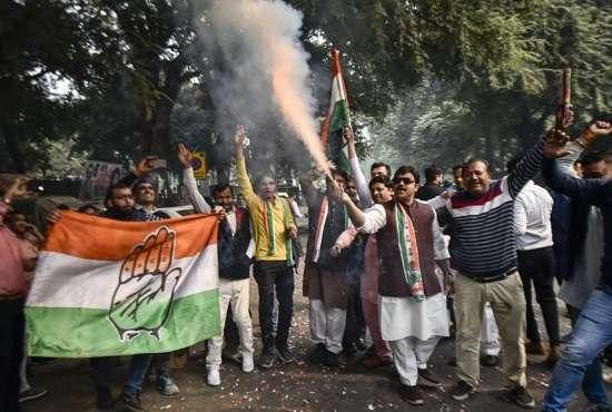 India Tv - Congress workers celebrate in Delhi