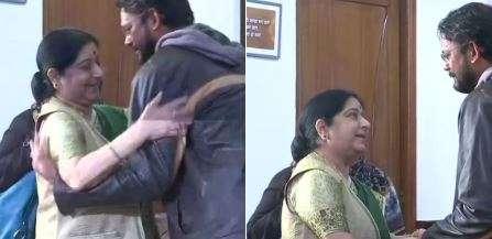 Indian national Hamid Ansari, mother meet EAM Sushma Swaraj