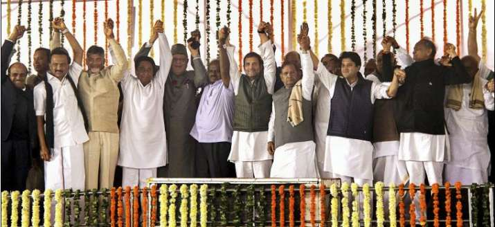 India Tv - File photo of opposition leaders after swearing-in ceremony of Kamal Nath as CM in Bhopal on Dec 17, 2018. (PTI)