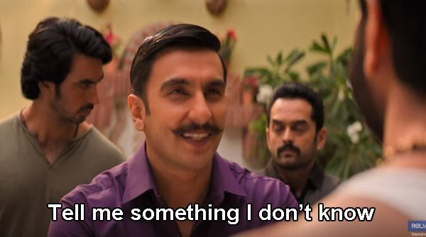 Ranveer Singh's dialogue from Simmba 'Tell me something I don't know' opens up treasure box of memes and trolls | Buzz News – India TV