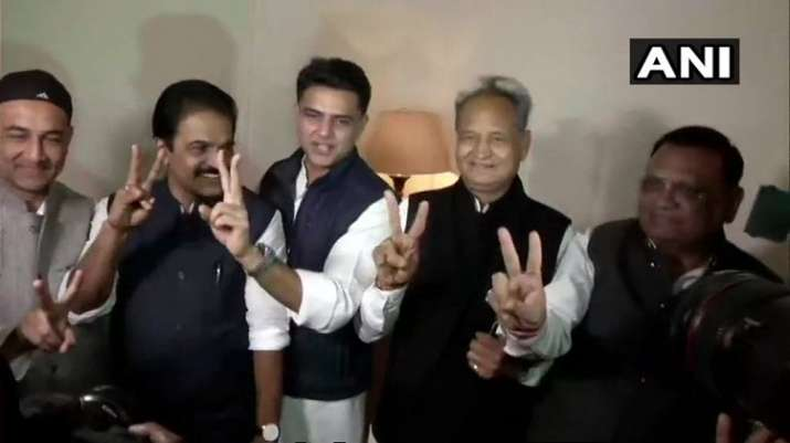 India Tv - Ashok Gehlot, Sachin Pilot, other Congress leaders in Jaipur after the party crossed majority-mark in the state