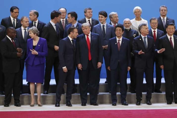World leaders pose for a group photograph at the G20 summit.