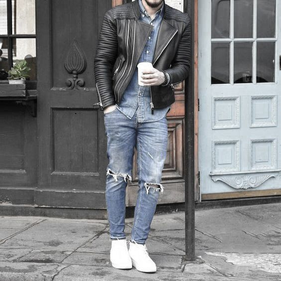 Man's guide to styling a leather jacket with right sneakers