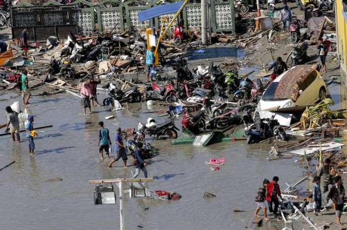 Damage due to earthquake and tsunami in Indonesia