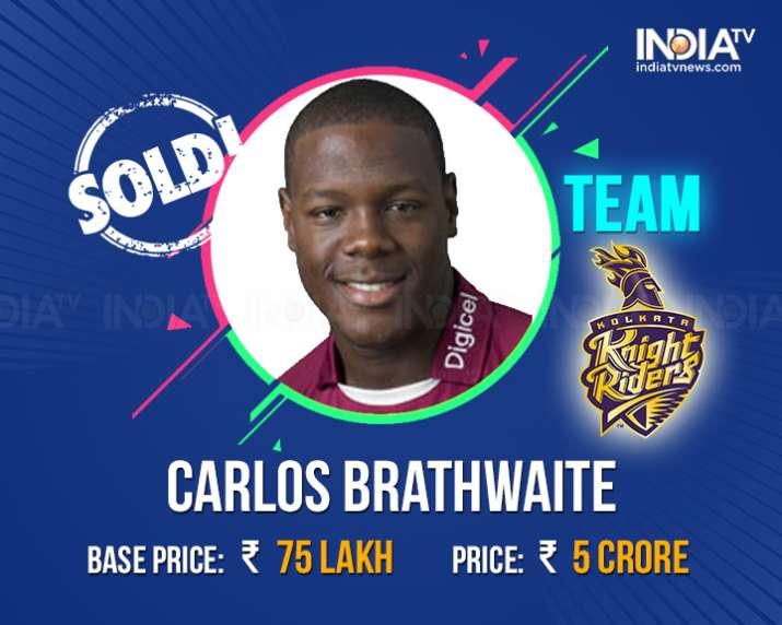 India Tv - Carlos Braithwaite sold to KKR for Rs.5 Crore