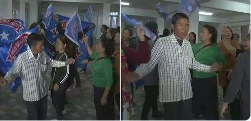 India Tv -    Members and workers of Mizo National Front celebrate at party headquarters in Aizawl. The party has won 23 seats in the state so far.