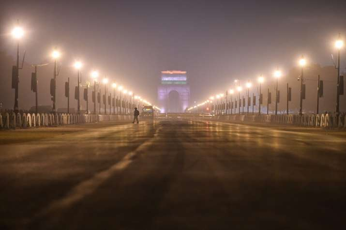 A view of the India Gate on the New Year's eve, in New Delhi