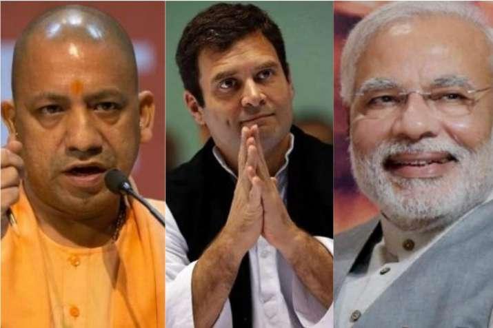 Yogi Adityanath, Rahul Gandhi and Narendra Modi (L-R)