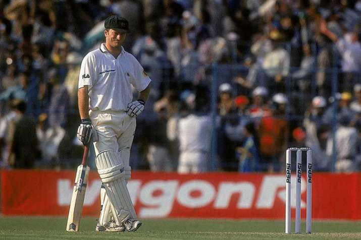 India Tv - Steve Waugh strikes a forlornfigure during the Kolkata Test.