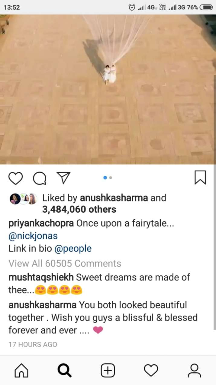 India Tv - Deepika Padukone's comment on Priyanka Chopra's Instagram picture
