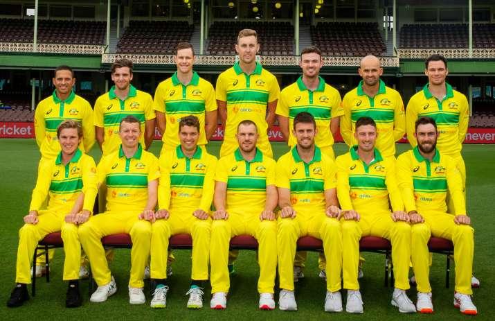 India Tv - The Australia ODI squad members pose with their new retro kits
