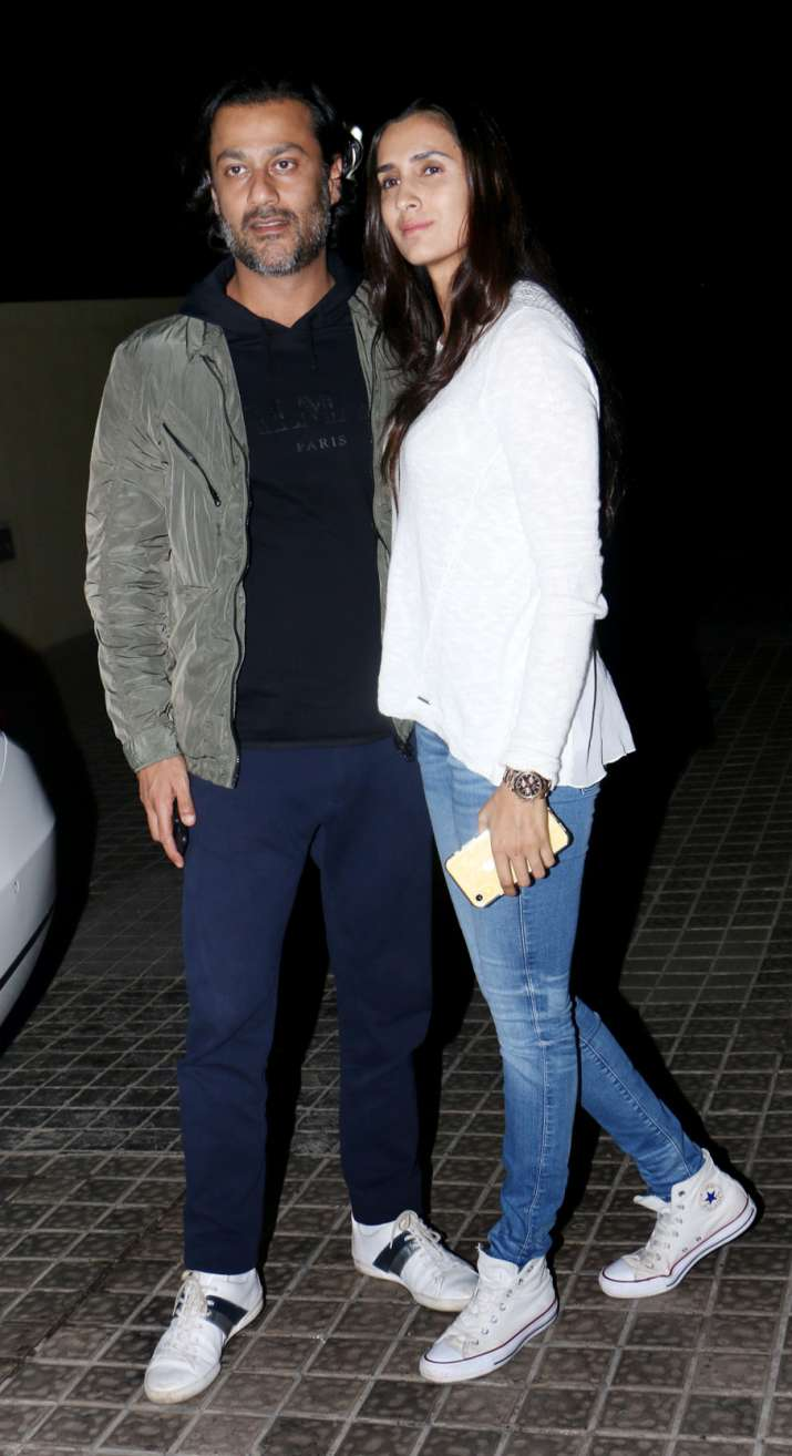 India Tv - Abhishek Kapoor with wife Pragya Yadav at Uri Special Screening