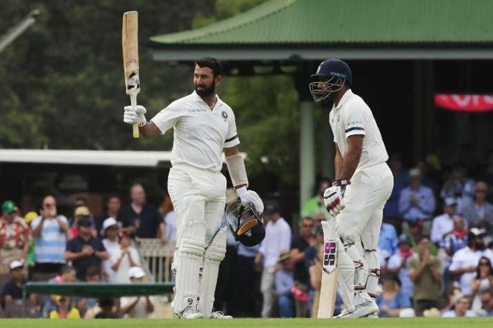 India vs Australia 4th Test Match: Pujara raises his bat