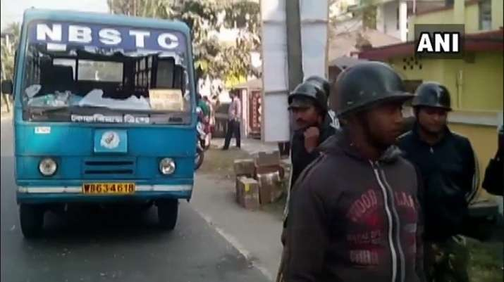 India Tv - Protesters vandalise government bus in Dinhata, Cooch Behar, West Bengal