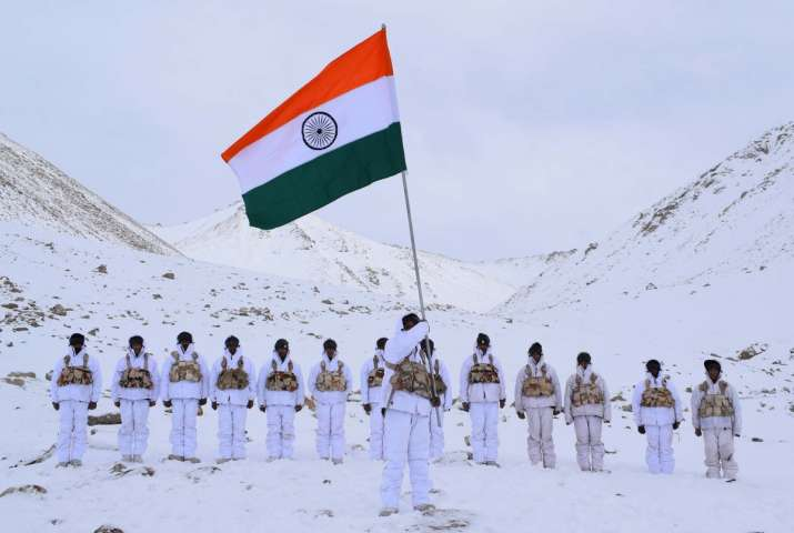 India Tv - Indo-Tibetan Border Police personnel celebrating Republic Day at 18,000 feet and -30 degree celsius in Ladakh