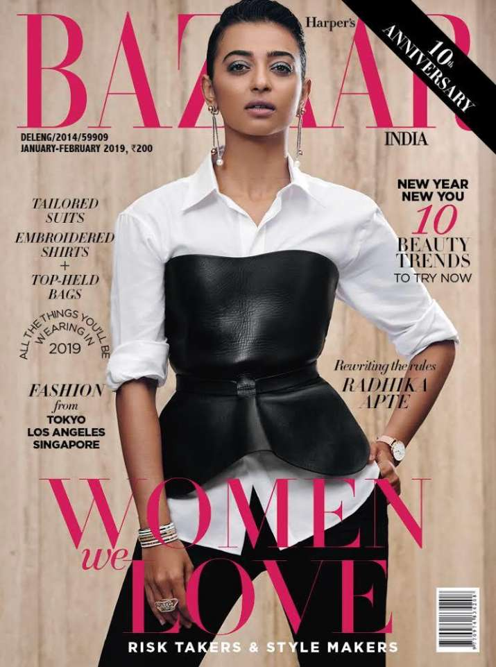 Cover girl Radhika Apte opts for monochrome separates;