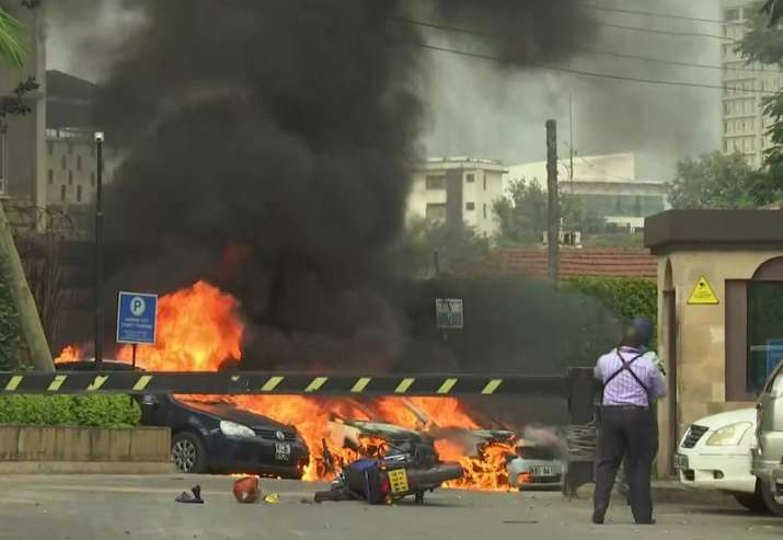 India Tv - This frame taken from video shows a scene of an explosion in Kenya's capital, Nairobi, Tuesday Jan. 15, 2019. Gunfire and explosions were reported near an upscale hotel complex.