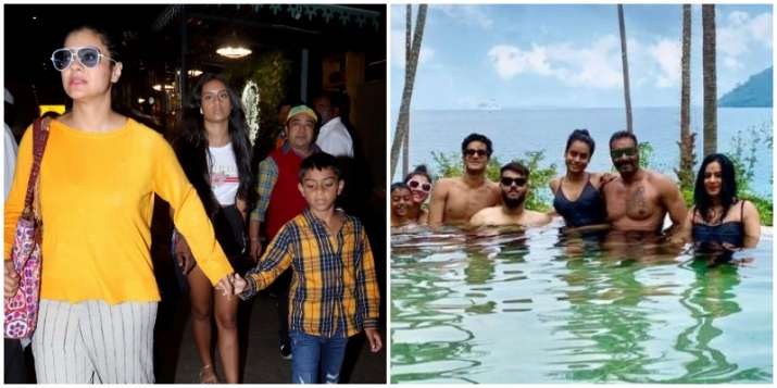 Ajay Devgn, Kajol are back with kids Nysa and Yug from